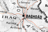 Iraqi map detail with focus on baghdad — Stock Photo
