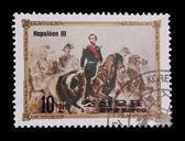 DPR KOREA - CIRCA 1984: mail stamp featuring napoleon III on horseback, circa 1984 — Stock Photo
