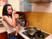 Mother with son cooking — Foto Stock