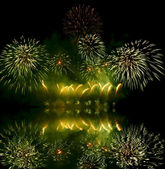 Fireworks (salute) and reflection — Foto de Stock