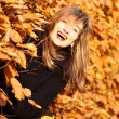 Stock Photo: Autumn joyful beauty woman portrait