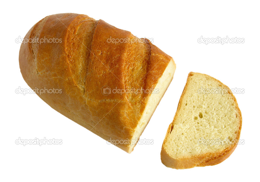 Isolated loaf and slice of bread — Stock Photo #2058779