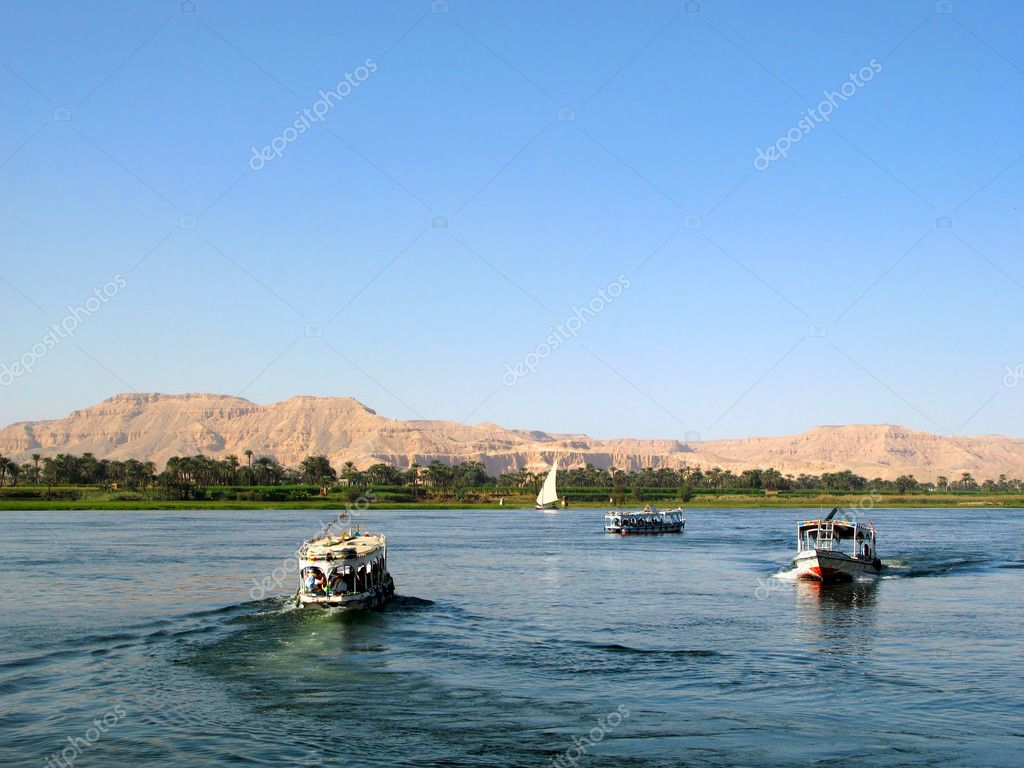 Egyptian boats with tourists on the river Nile near Luxor, Egypt, Africa.  Stock Photo #2066386