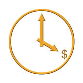 Gold clock with dollar sign — Foto de Stock
