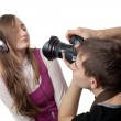 Photographer and model — Stock Photo