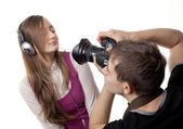 Photographer and model — Foto Stock