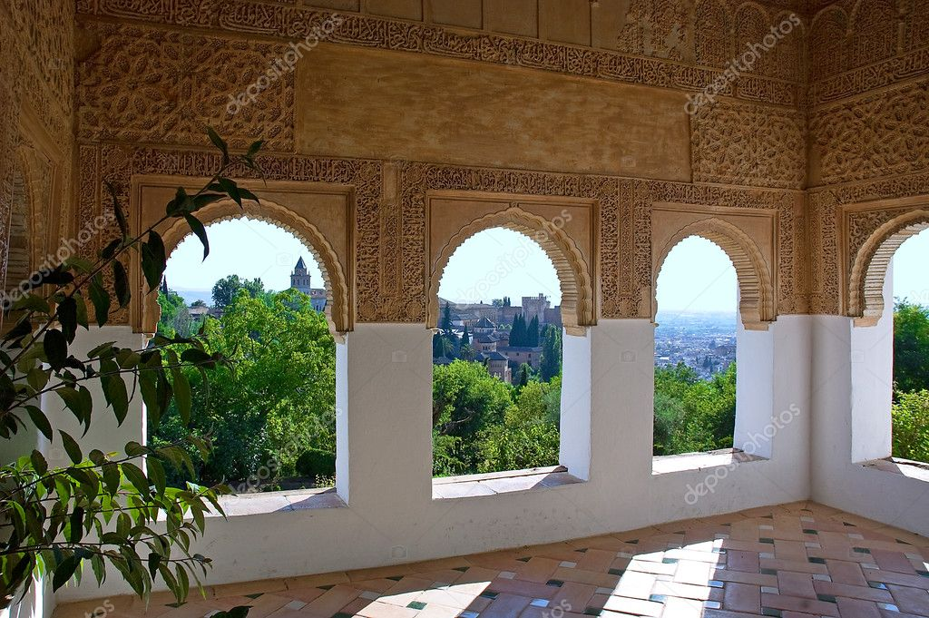 Moorish windows the palace of the Alhambra from Granada, Spain — Stock Photo #2447791