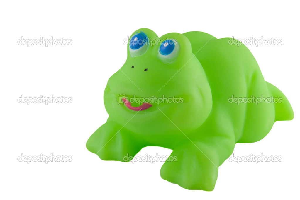 Bath toy, bright green rubber frog — Stock Photo #2034344