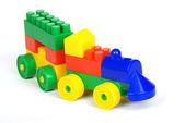 Toy train of building blocks — Stock Photo