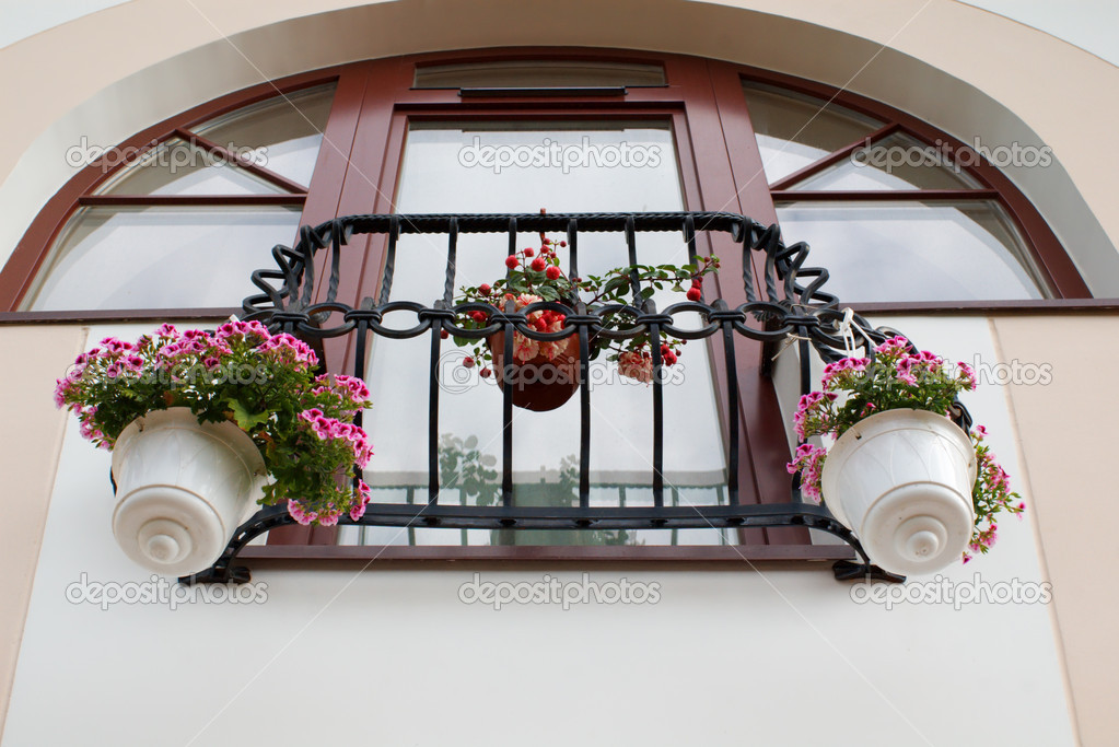 French balcony with flowers stock photo 2167179 for What is a french balcony