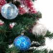 Brunch of Christmas tree with balls — Stock Photo