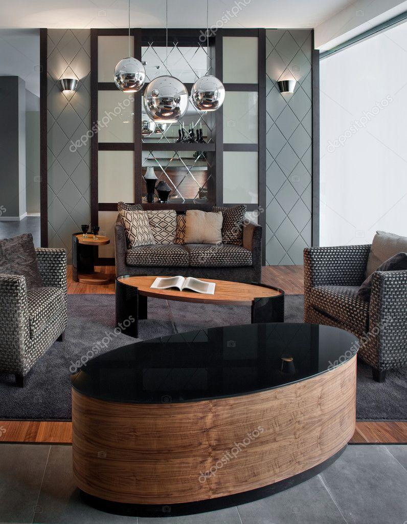 Eleganta och lyxiga vardagsrum inredning — stockfotografi ...