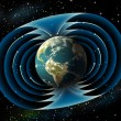 Earth magnetic field - Stock Photo