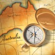 Royalty-Free Stock Photo: Old map and compass