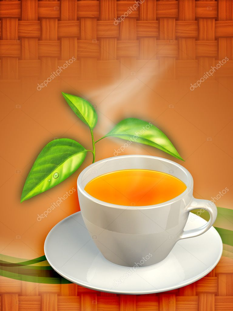 A cup of black tea and some tea leaves. Digital illustration. — Stock Photo #2014206