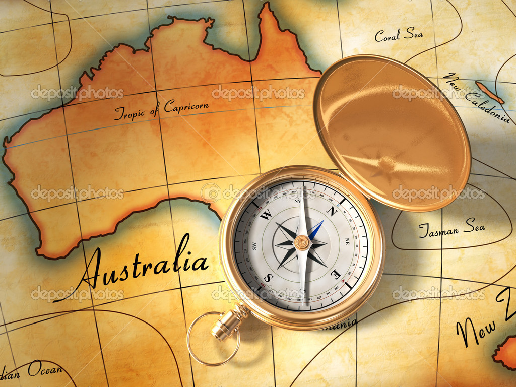 Compass and vintage map showing Australia and part of Oceania. Digital illustration. — Stock Photo #2014311