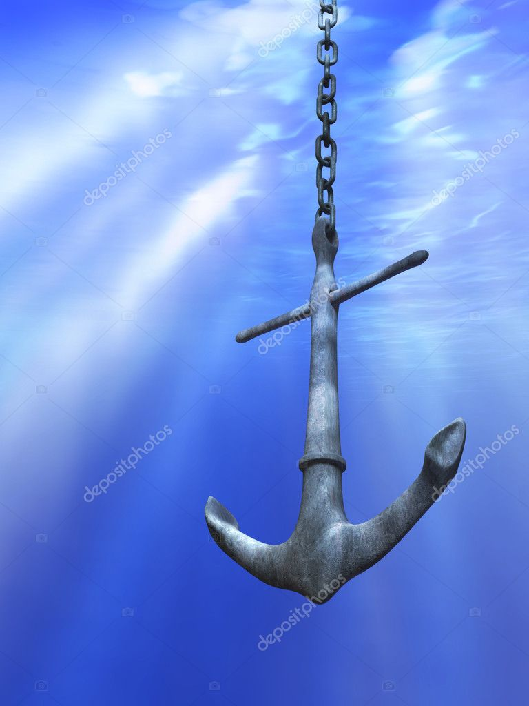 Underwater light rays illuminating a metal anchor. Digital illustration. — Stock Photo #2014485