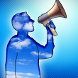 Megaphone and announcement — Stock Photo