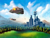 Futuristic city — Stock Photo