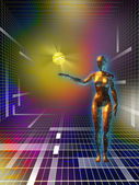 Female figure holding a data sphere in cyberspace. Digital illustration — Stock Photo