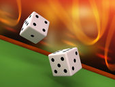 Dices rolling on felt table — Stock Photo