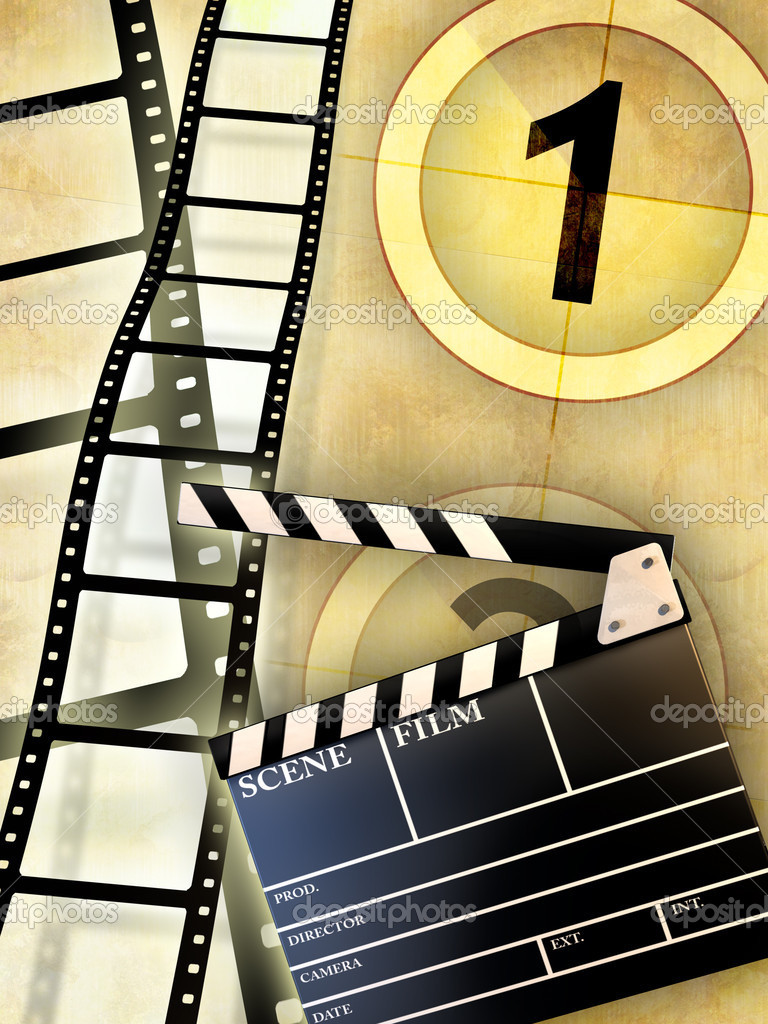Cinema themed composition, including a slate and some blank film . Digital illustration. — Stock Photo #2505960