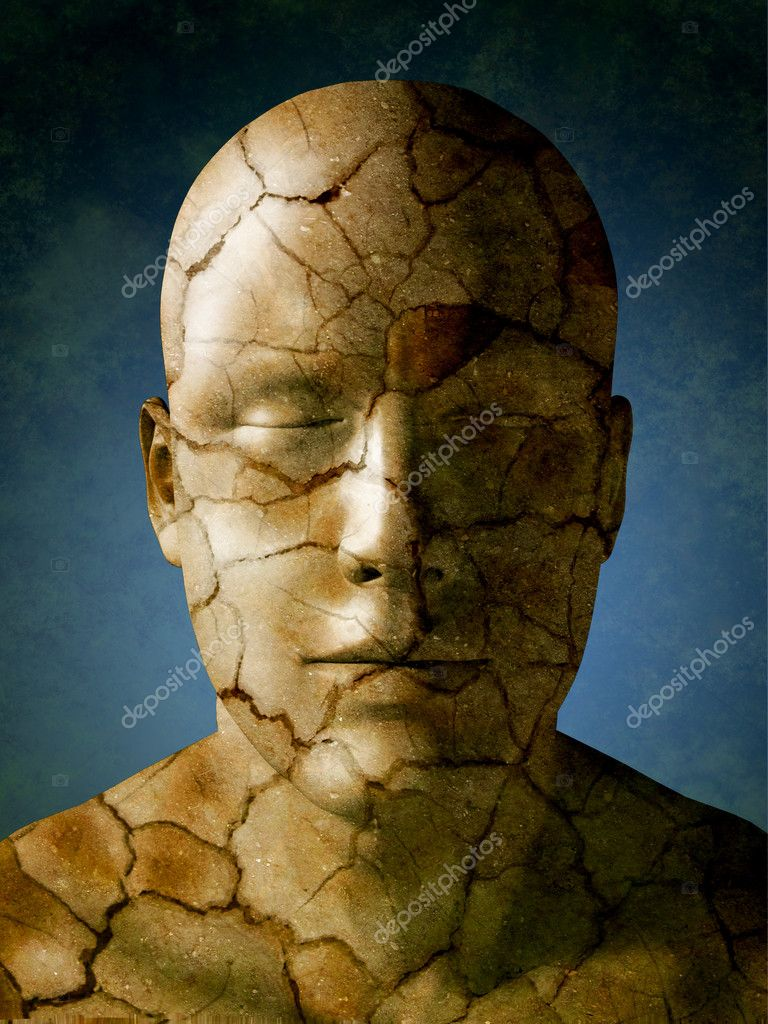 Humand head with a dry earth skin. Digital illustration. — Stock Photo #2506159