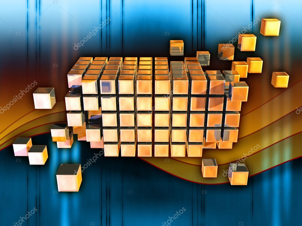 Cubes forming a larger structure in cyberspace. Digital illustration  Stock Photo #2506268