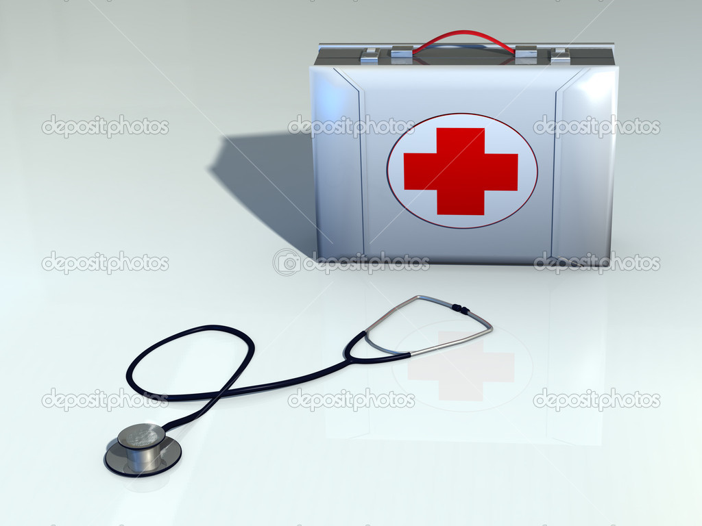 First aid kit and stethoscope. CG illustration. — Stock Photo #2507868