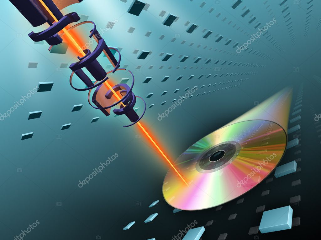 Laser beam writing data on a compact disc. Digital illustration.  Stock Photo #2508063