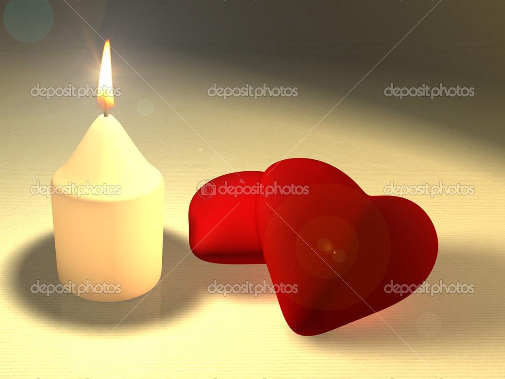 A candle illuminating two soft red hearts. CG illustration. — Photo #2508723