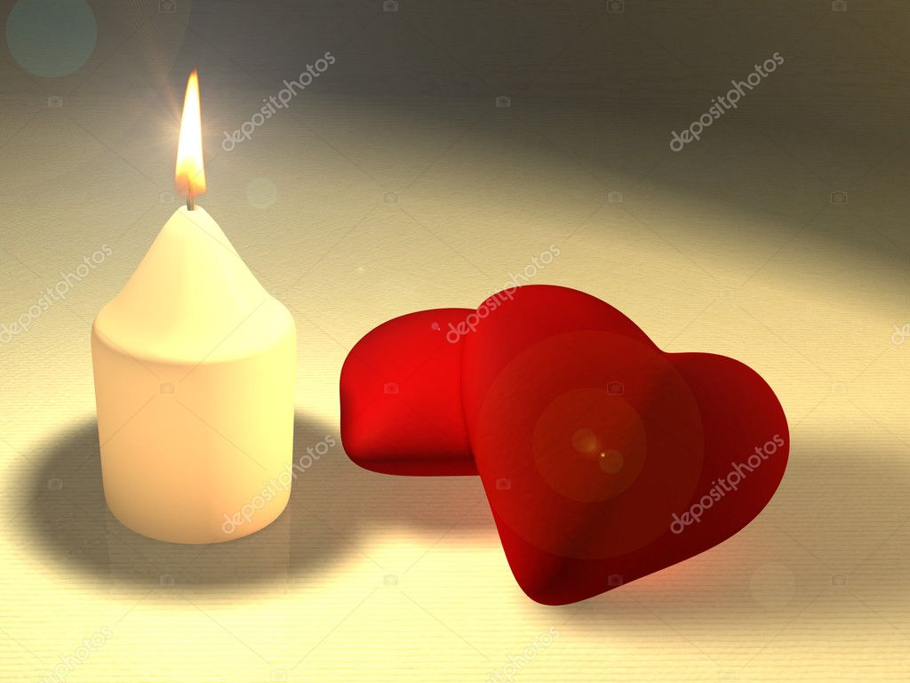 A candle illuminating two soft red hearts. CG illustration. — Stock fotografie #2508723
