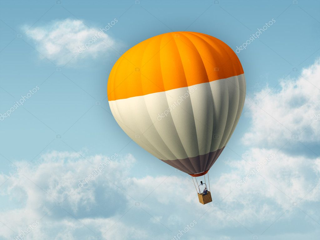 Businessman flying in an hot air baloon. Digital illustration. — Stock Photo #2509847