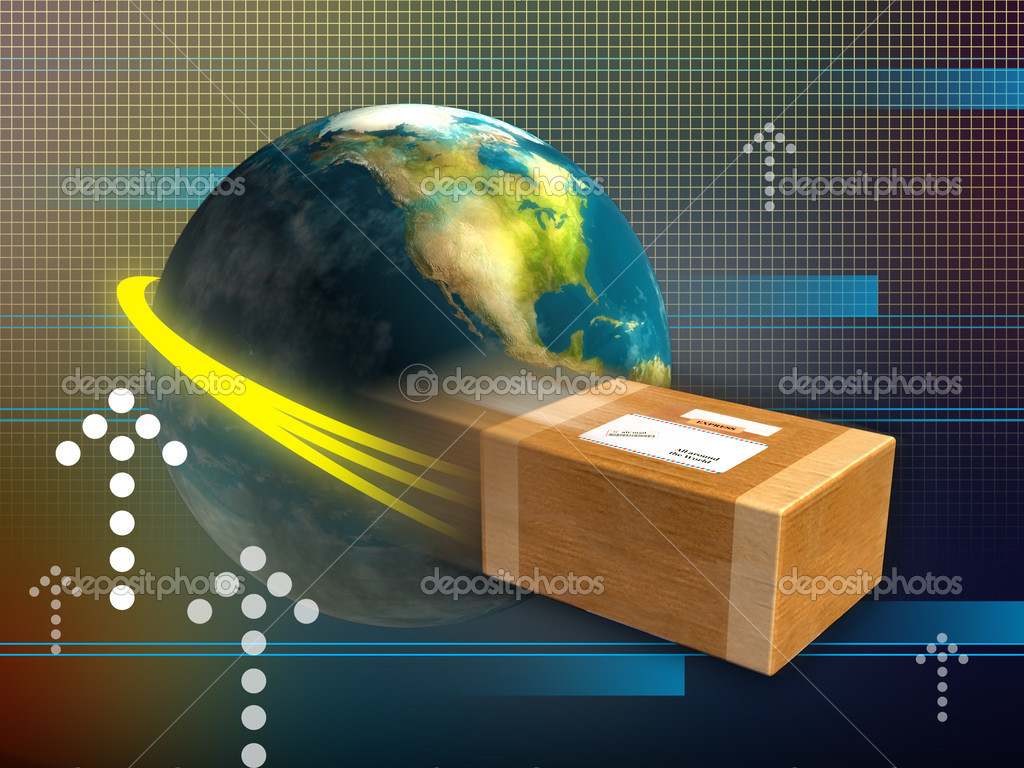 Fast package delivery around the world. Digital illustration.  Stock Photo #2510242