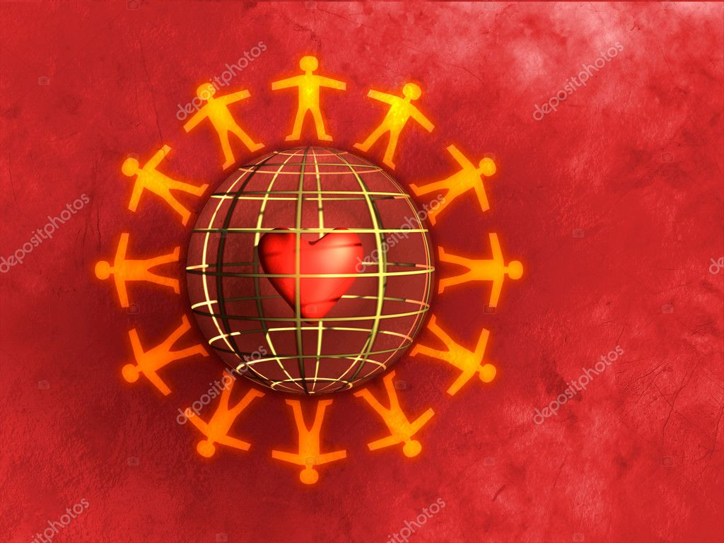 Silhouettes holding hands around a sphere. Heart visible inside the sphere. Digital illustration — Foto Stock #2510452