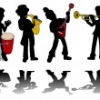 Music kids silhouettes collection — Stock Vector #1944620
