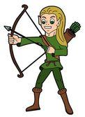 Fantasy cartoon - elvish archer — Stock Vector