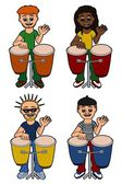 Men percussionists playing congas — Stock Vector