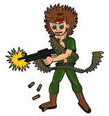 Cartoon soldier or mercenary — Stock Vector