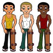Diverse cartoon skateboarder characters — Stock Vector