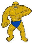 Giant superhero or villain cartoon — Stock Vector