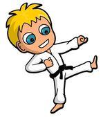 Karate kid cartoon — Stock Vector