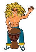 Percussionista tocando djembe — Vetor de Stock