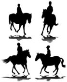 Horseback riding silhouettes — Stock Vector