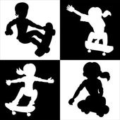 Jumping skateboarders silhouettes — Stock Vector