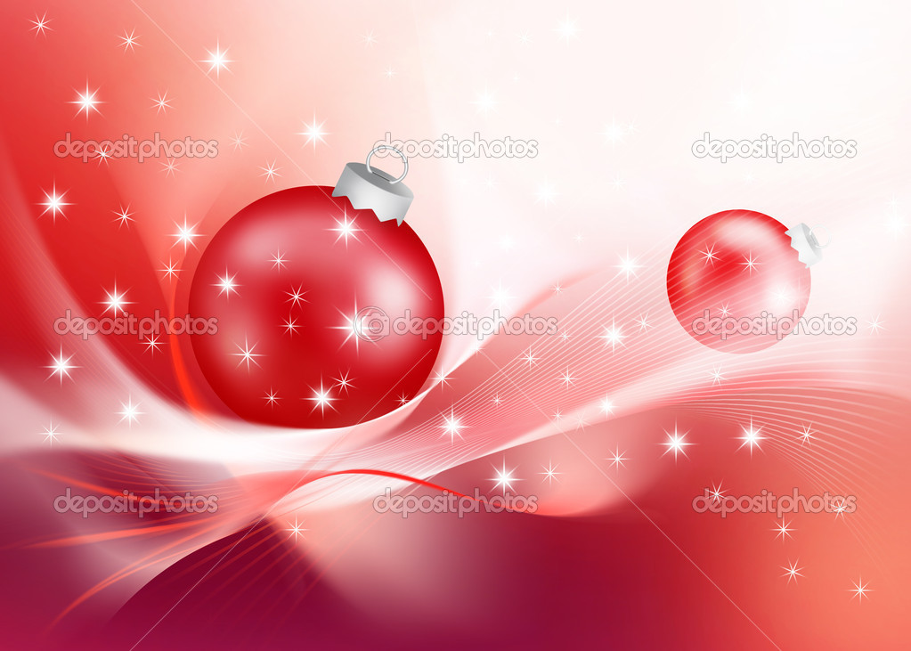 Modern Christmas decorations with red baubles.  Stok fotoraf #1944178