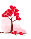 Tree red hearts — Vector de stock