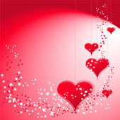 Red hearts on red background — Vector de stock