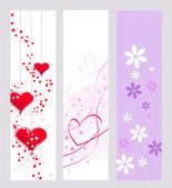 Konstnärliga hjärtan och blommor — Stockvektor