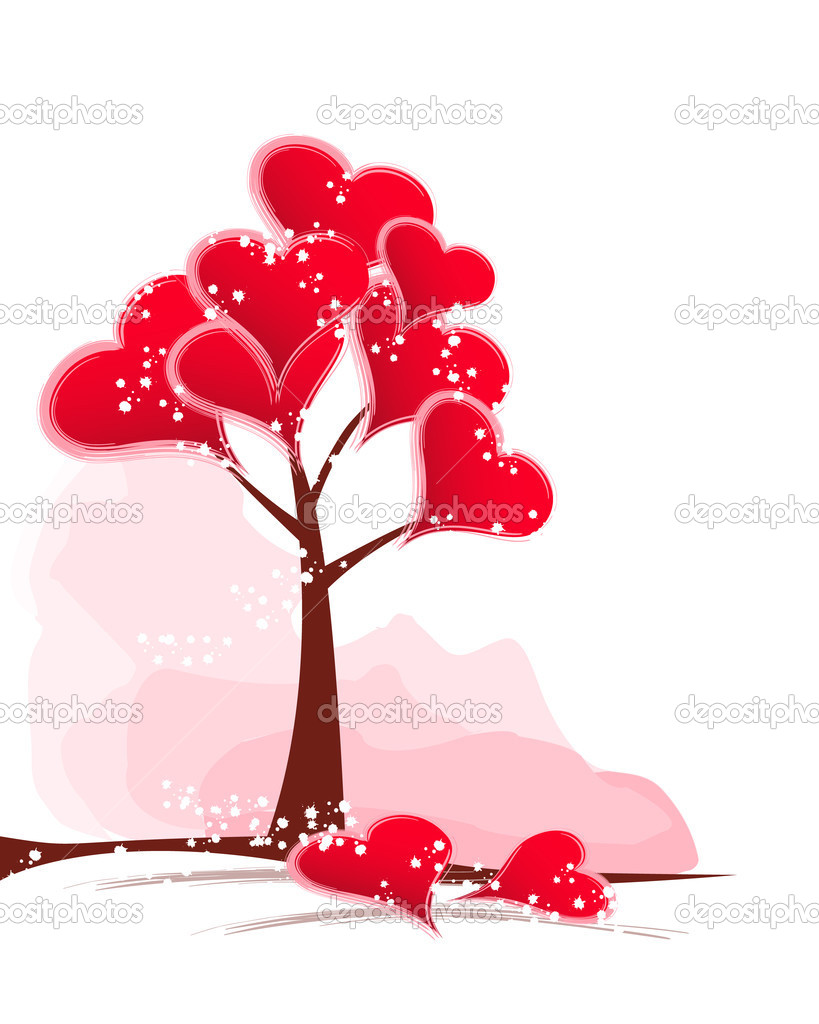 Abstract tree with red hearts. — Stock Vector #2025187
